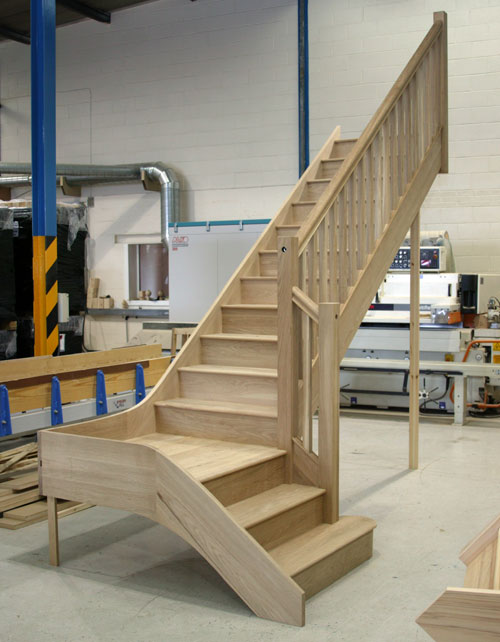 White Oak Staircases with stop chamfered stair balusters