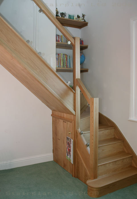 Oak staircase with Vision Toughened Glass balustrade