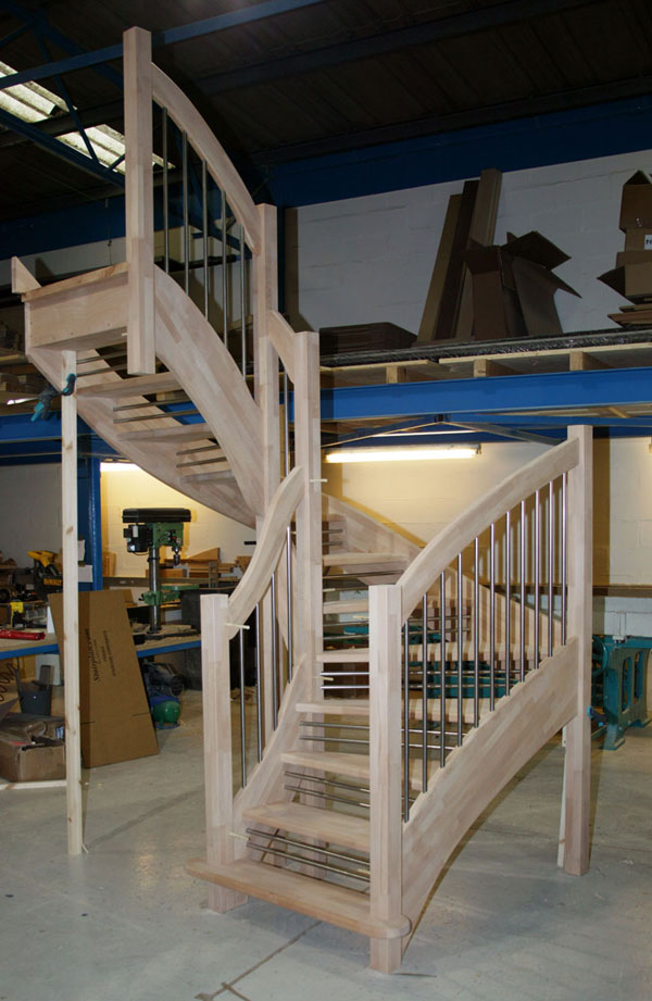 Winder staircase with european style handrail
